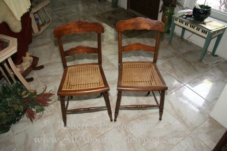 Antique Walnut Cane Chairs - $25 ea - SOLD - Misc. Antique Glassware, And Baskets For Sale